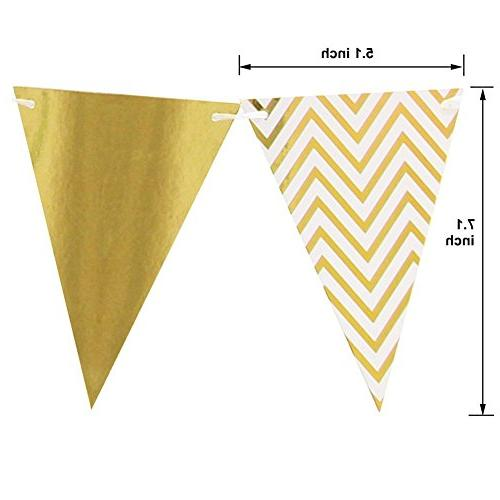 Sparkly Triangle Flags Feet and Tassels for Baby Party Decorations, Gold