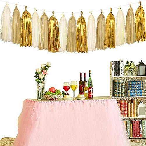 Sparkly Pennant Triangle Flags Bunting Tassels 15 for Baby Party Decorations, Metallic Gold