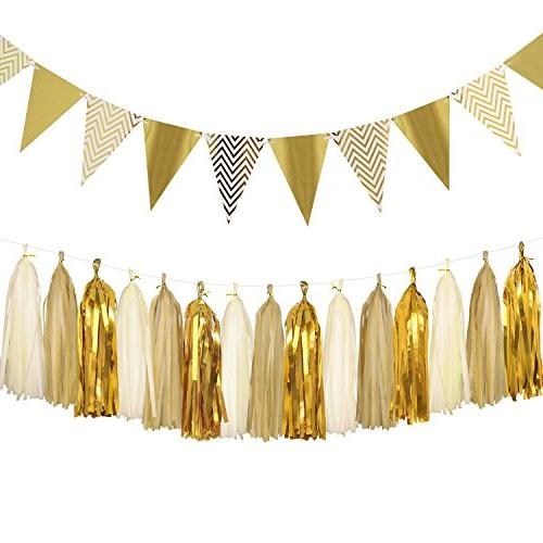 sparkly paper pennant bunting banner