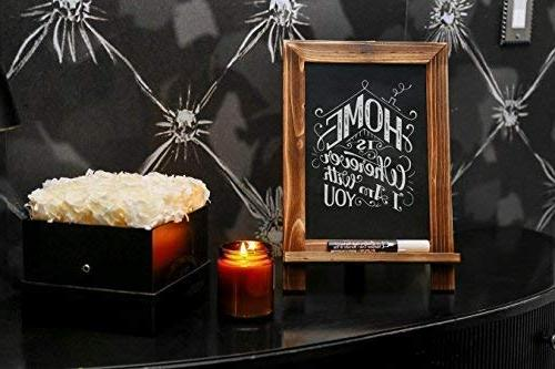 Tabletop Standing Chalkboard Sign with White Liquid Marker x with Vintage Wood Great Wedding Shower Party Kid Kitchen Restaurant Home