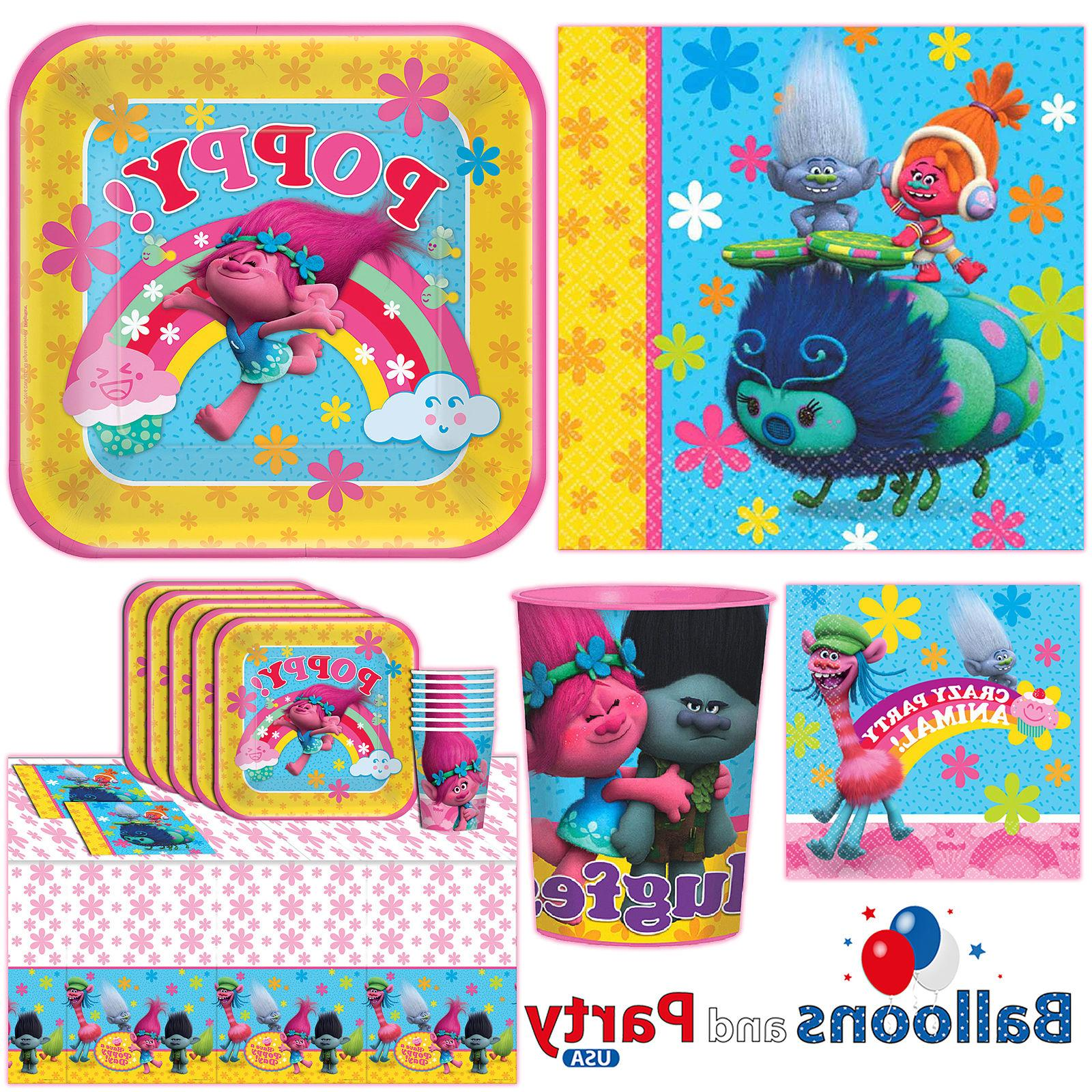 Trolls Movies Girls Birthday Party Tableware Decorations Sup
