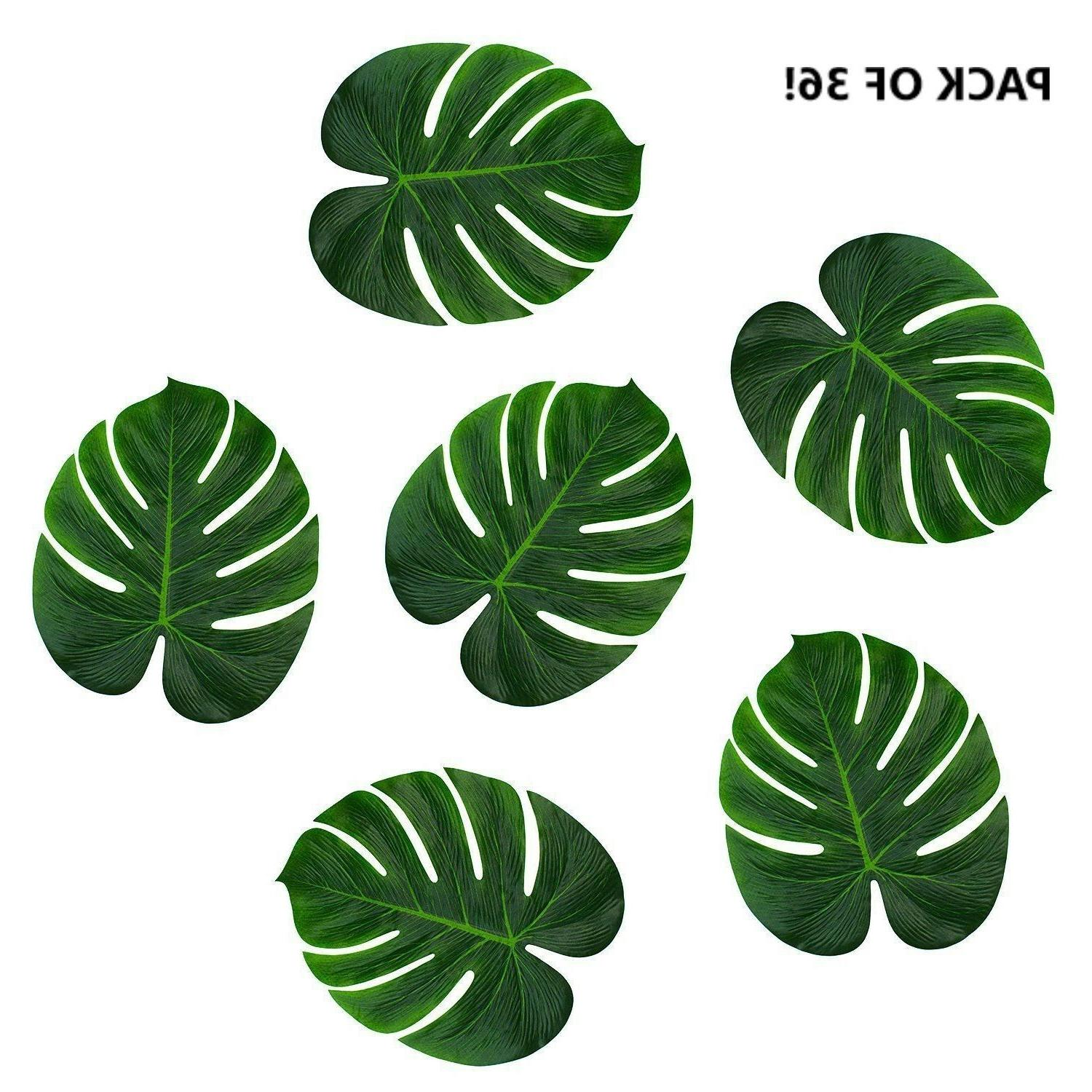 """Pack of 36 Tropical Imitation Green Plant Paper Leaves 13"""" H"""