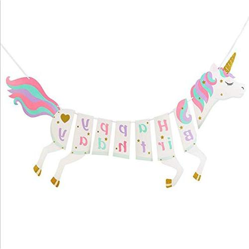 Unicorn Birthday Party Decorations, Happy Banner, Confetti Balloons, Pennant Banner Flags, Pompoms Streamers