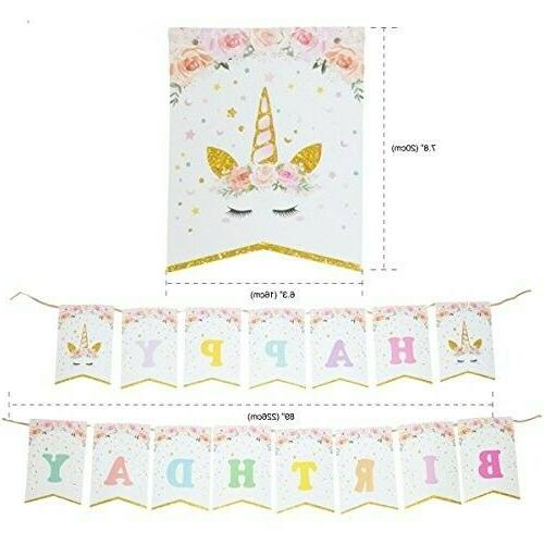 Unicorn Cake Topper Banner Quality Party Decorations Supplies