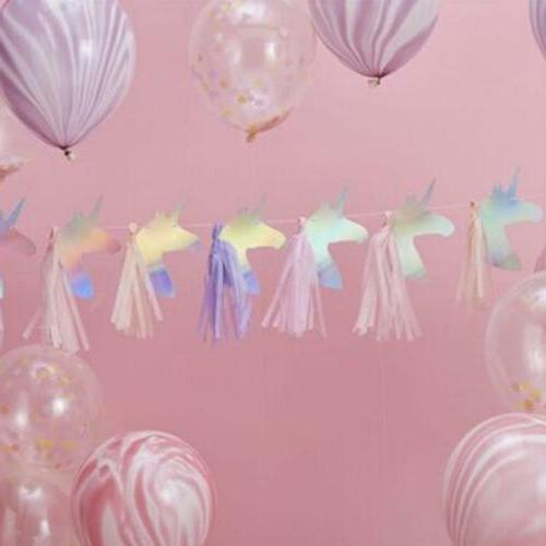 UNICORN PARTY GARLANDS - Iridescent Bunting Banners - Birthd