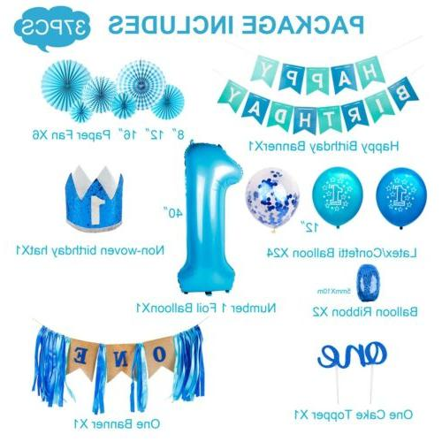 US 1 Birthday Party Paper Banner Girl Balloon
