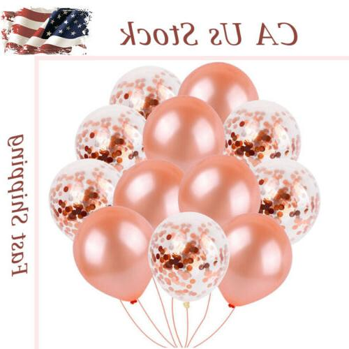 US 40pc Rose Gold Confetti Balloons Latex Birthday Party Fai