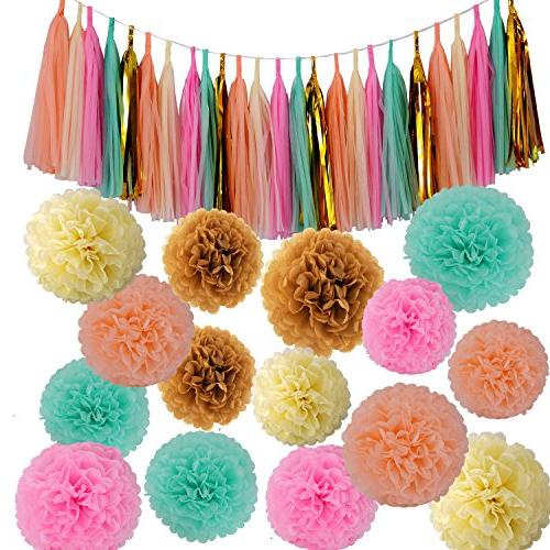 Baby Party Decorations 42 pcs Mint Green Pink Cream Pom Poms Flowers Tissue Tassel Garland Glitter Five-Pointed Star Garland Kit