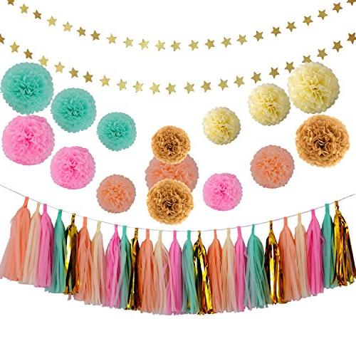 Baby Wedding Decorations Gold Mint Pink Cream Tissue Poms Garland Gold Five-Pointed Star