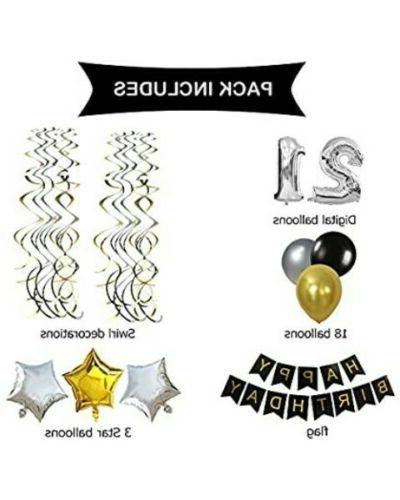 21st birthday for Women or decor Silver &