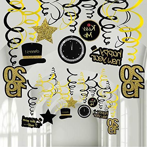 30 Pcs Year Hanging Swirl Decorations Swirls Hanging Steamers Hanging for New Year's Eve Holiday Party Booth