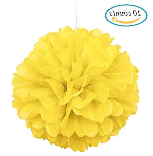 yellow tissue hanging paper pom