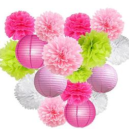 14pcs paper lantern honeycomb ball pom pom for wedding birth