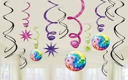 LET'S BOOGIE hanging SWIRLS DECORATIONS 1970s party supplies