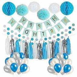 Litaus Frozen Theme White And Blue Party Decorations Girls,