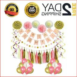 LITAUS Pink and Gold Birthday Decorations, Party Supplies, H
