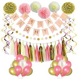 pink and gold birthday decorations party supplies