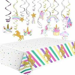 Litaus Unicorn Party Decorations, Hanging Swirls With Tablec