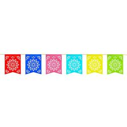 12 Foot Long Rainbow Multicolored Flag Mexican Sun Del Sol D