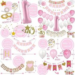 Mayen 1St Birthday Party Decorations For Girl Mega Set PINK