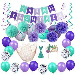 Mermaid Party Decorations Balloons Lanterns Fish Net Pom Pom