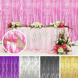 Metallic Foil Fringe Curtain Tinsel Photo Backdrop Party Bir