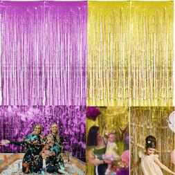Metallic Foil Fringe Curtains Backdrop Party Decor Photo Boo