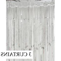 3 Metallic Silver Foil Fringe Curtain Backdrop Party Decor P
