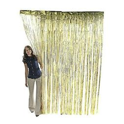 Super Z Outlet Metallic Gold Foil Fringe Shiny Curtains for