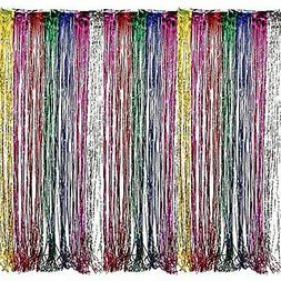 Adorox Metallic Silver Gold Rainbow Foil Fringe Curtains Par