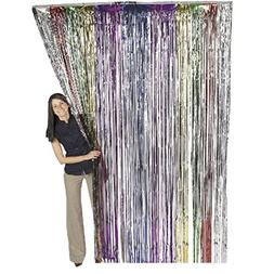 Metallic Rainbow Foil Fringe Shiny Curtains for Party, Prom,