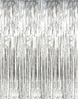 Metallic Silver Foil Fringe Curtains