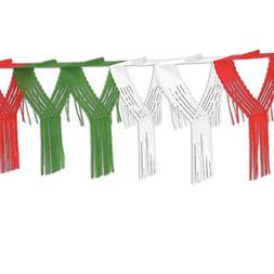 MEXICAN FIESTA 12' feet RED WHITE GREEN FRINGE GARLAND Banne