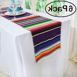 Koyal Pack of 6 14 x 84 inch Mexican Serape Table Runner for