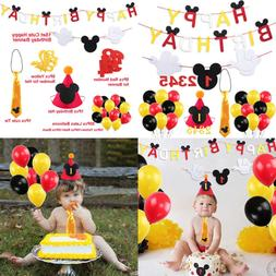 Mickey Mouse Happy Birthday Banner Decorations Kit Tie Hat F