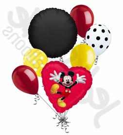 7 pc Mickey Mouse Red Heart Balloon Bouquet Party Decoration
