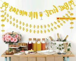 Threemart Mimosa Bar Sign Banner Tags Gold Floral Decoration