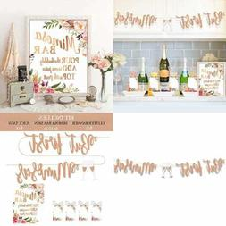 Mimosa Bar Supplies ROSE GOLD Sign Banner Tags Kit Bridal Sh