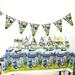 Minecraft Theme Cartoon Plate Tablecloth Baby Shower <font><