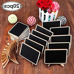 AerWo 20 Pack Wooden Mini Chalkboards Signs with Easel Stand
