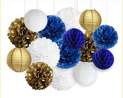 Wcaro Mixed Navy Blue White Gold Party Tissue Paper Pom Poms