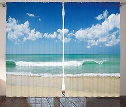 Ambesonne Modern Decor Curtains, Sandy Beach with Bright Sky