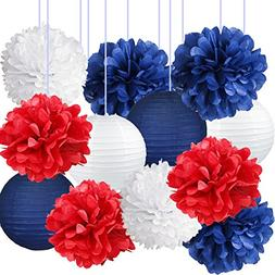 Nautical Party Decor Pom Poms Tissue Paper Lanterns Navy Blu