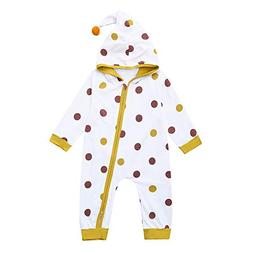 Fartido Newborn Baby Bodysuit Boys Girls Dot Print Hooded Zi