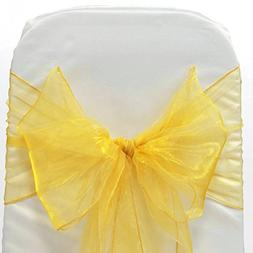 mds Pack of 100 organza chair sash bow sashes For wedding an
