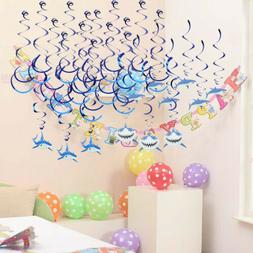 Pack of 30pcs Shark Hanging Swirls for Kid Party Baby Shower