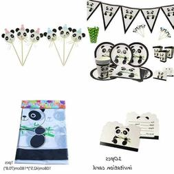 Panda Party Supplies Set Birthday Decorations Tableware For
