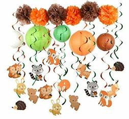 Woodland Animal Swirl Party Decoration Pack for Birthday bab