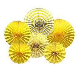 Party Hanging Paper Fans Set, Yellow Round Pattern Paper Gar