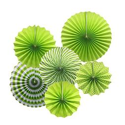 Party Hanging Paper Fans Set, Green Round Pattern Paper Garl